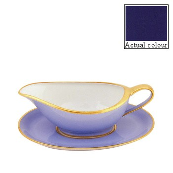 Sous le Soleil Sauce boat and stand, cobalt blue with gold band