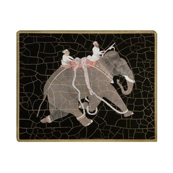 Elephant no.1 Tablemat rectanglular small, 20 x 25cm, black