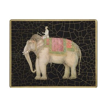 Elephant no.2 Tablemat rectanglular small, 20 x 25cm, black