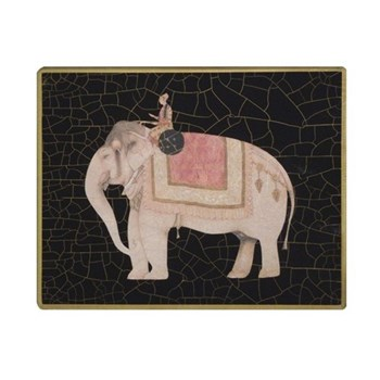 Elephant no.4 Tablemat rectanglular small, 20 x 25cm, black