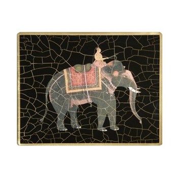 Elephant no.6 Tablemat rectanglular small, 20 x 25cm, black