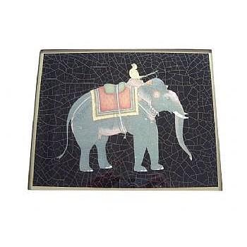 Elephant no.8 Tablemat rectanglular small, 20 x 25cm, black