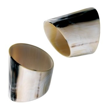 Napkin ring round, dark horn