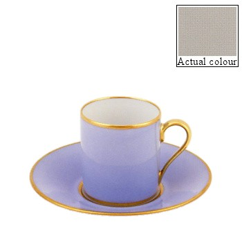 Sous le Soleil Coffee cup and saucer straight sided, 9cl, pearl grey with gold band