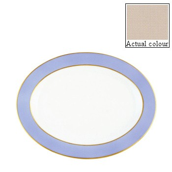 Sous le Soleil Oval platter, 36cm, mastic with gold band