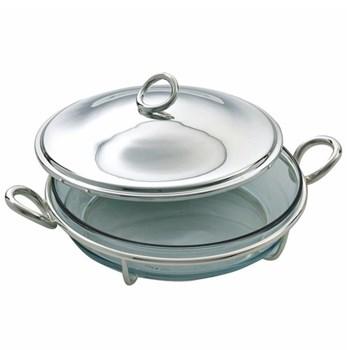 Vertigo Round gratin dish in stand (without cover), 25cm, Christofle silver