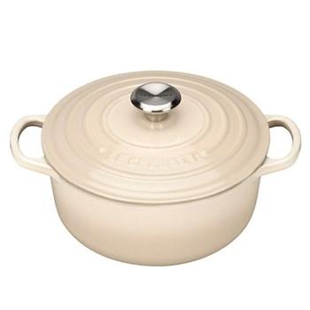 Signature Cast Iron Round casserole, 22 x 9.5cm - 3.3 litre, almond