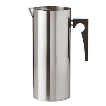 Arne Jacobsen Jug with ice lip, H24 x W10.3cm, satin stainless steel with bakelite handle