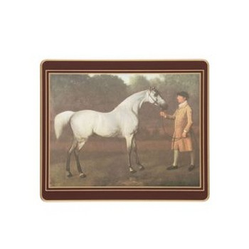 Racehorses - Traditional Range Set of 6 tablemats with frame line, 24 x 20cm, regal red