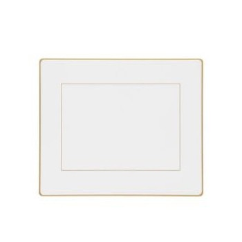Screened Range Set of 6 tablemats with frame line, 24 x 20cm, white