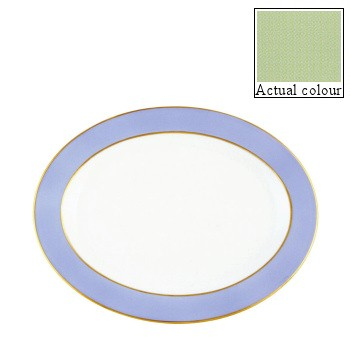 Sous le Soleil Oval platter, 40cm, pastel green with gold band