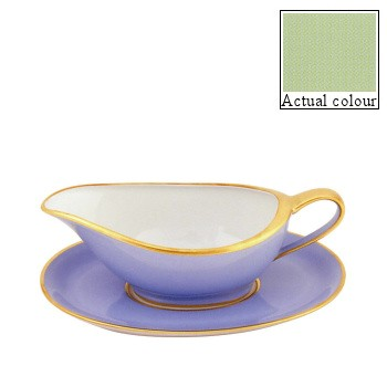 Sous le Soleil Sauce boat and stand, pastel green with gold band