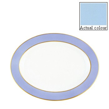 Sous le Soleil Oval platter, 36cm, opal with gold band