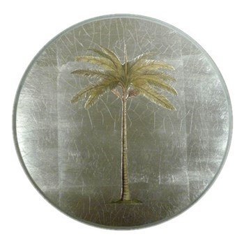 Palm Tree Tablemat round, 27.5cm, silver leaf