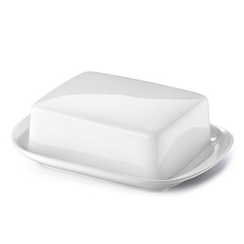 Solid Colour Butter dish, white