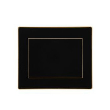 Screened Range Set of 6 tablemats with gold frame line, 24 x 20cm, black