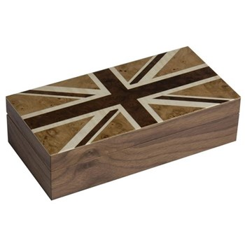 Union Flag Jewellery/cufflink box, walnut inlay