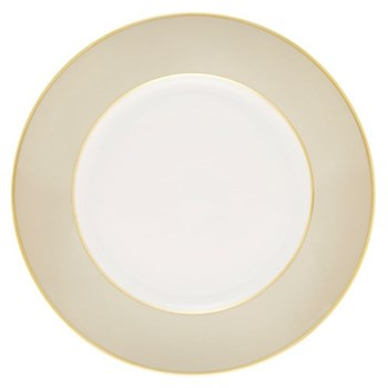 Sous le Soleil Dinner plate, 26.5cm, pearl grey with gold band
