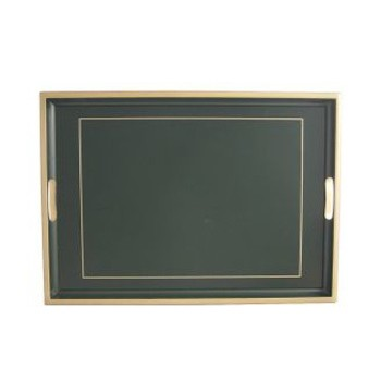 Screened Range Traditional tray with frame line, 55 x 39.5cm, bottle green