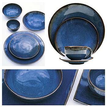 Tourron Round dish, 32.5cm, indigo