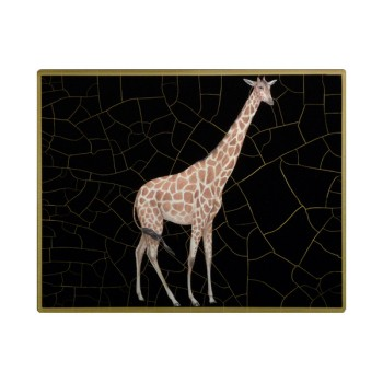 African Animals - Giraffe Tablemat rectanglular small, 20 x 25cm, black