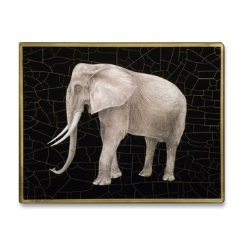 African Animals - Elephant Tablemat rectanglular small, 20 x 25cm, black