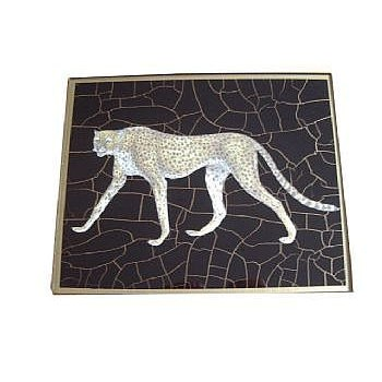African Animals - Cheetah Tablemat rectanglular small, 20 x 25cm, black