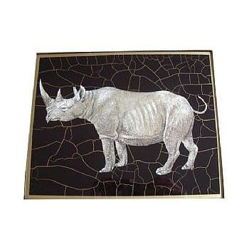 African Animals - Rhino Tablemat rectanglular small, 20 x 25cm, black