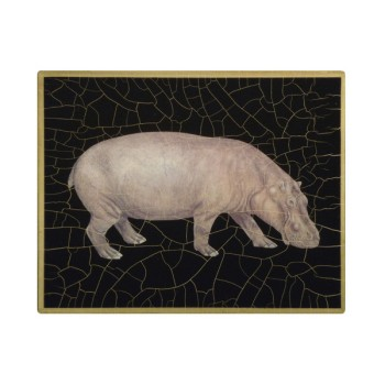 African Animals - Hippo Tablemat rectanglular small, 20 x 25cm, black