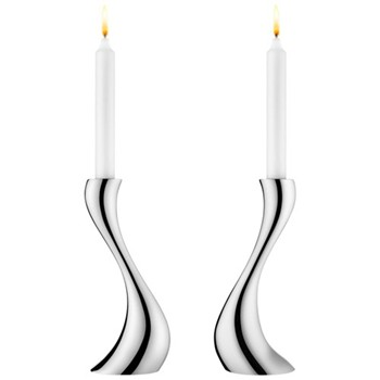 Cobra Pair of candleholders, 20cm, stainless steel