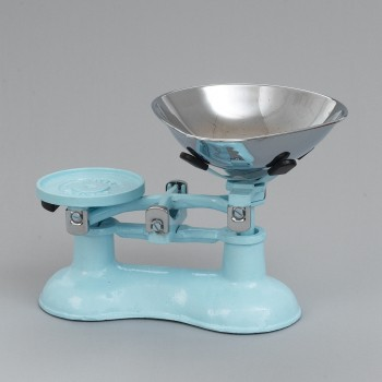 Traditional kitchen scales, pale blue cast iron with chrome bowl