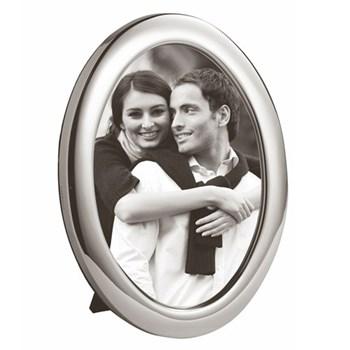"Oval Series - Plain Photograph frame, 3.5 x 5"", sterling silver with blue velvet back"