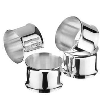 Set of 4 napkin rings with curved edges