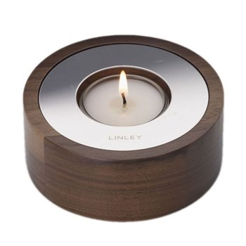 Circular candle, 10cm, walnut with polished nickel detail and tealight