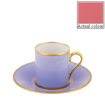 Sous le Soleil Coffee cup and saucer straight sided, 9cl, old rose with gold band