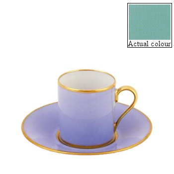 Sous le Soleil Coffee cup and saucer straight sided, 9cl, mint green with gold band