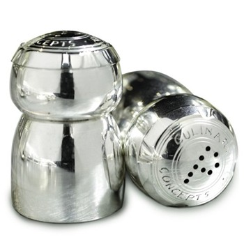 Champagne cork salt and pepper set, 5cm, silver plate