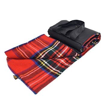 Eventer Waterpoof picnic rug, 137 x 170cm, royal stewart wool with black back