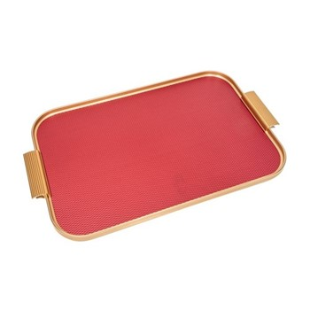 Ribbed serving tray, L46 x W30cm, diamond red