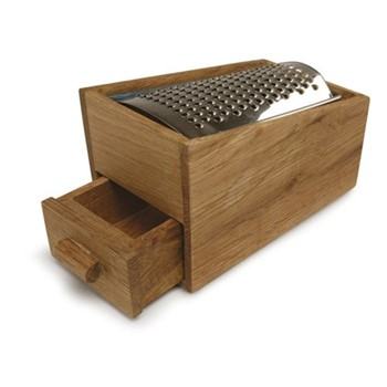 Nature Cheese grater with tray, 140 x 85 x 90 mm, oak