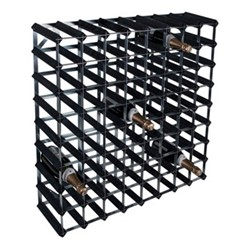72 bottle wine rack, H81 x W81 x D23cm, black ash/galvanised steel
