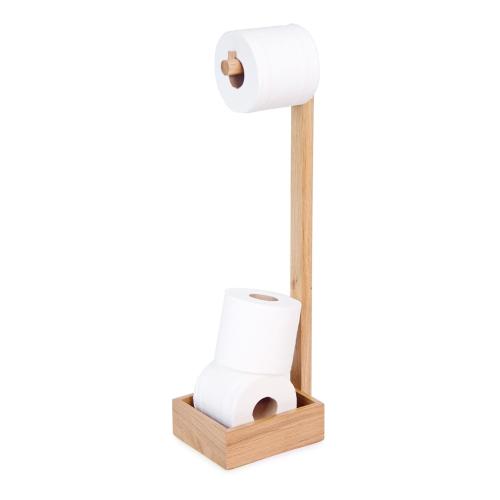 Mezza Freestanding loo roll holder, H60 x W20 x D15cm, Oak