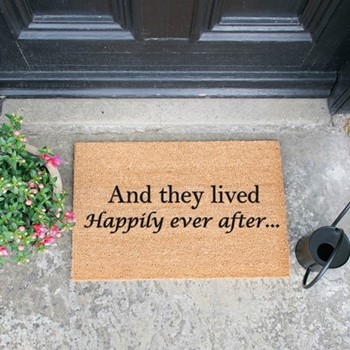 Happily Ever After Doormat , L60 x W40 x H1.5cm, black/brown
