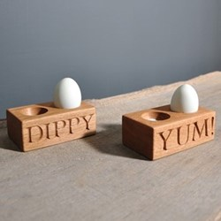 Yum Double egg holder, 12 x 7 x 4.5cm, oak