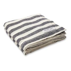 Stripe Linen beach towel, Midnight Blue And White