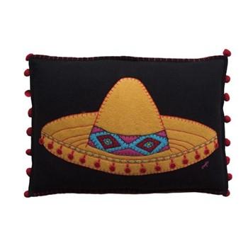 Fiesta Sombrero Cushion, 48 x 35cm, black