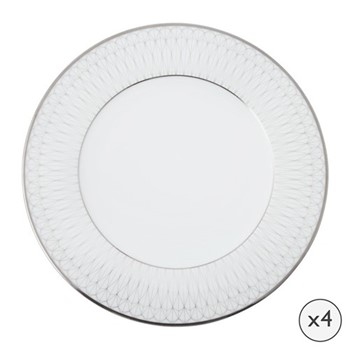 Prism Set of 4 dinner plates, 27cm, platinum
