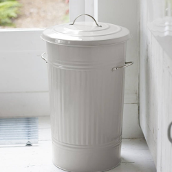 Kitchen bin, 46 litre - H63 x D37cm, Chalk Colour Powder Coated Galvanised Steel With Nickel Handle