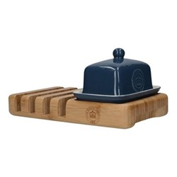Richmond Butter dish and bamboo toast rack set, L23 x W13 x H8cm, navy/bamboo