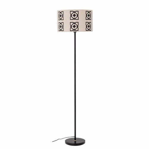 Metal Floor lamp, H160 x D42cm, Black & Beige